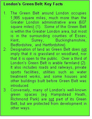 Green Belt Key Facts